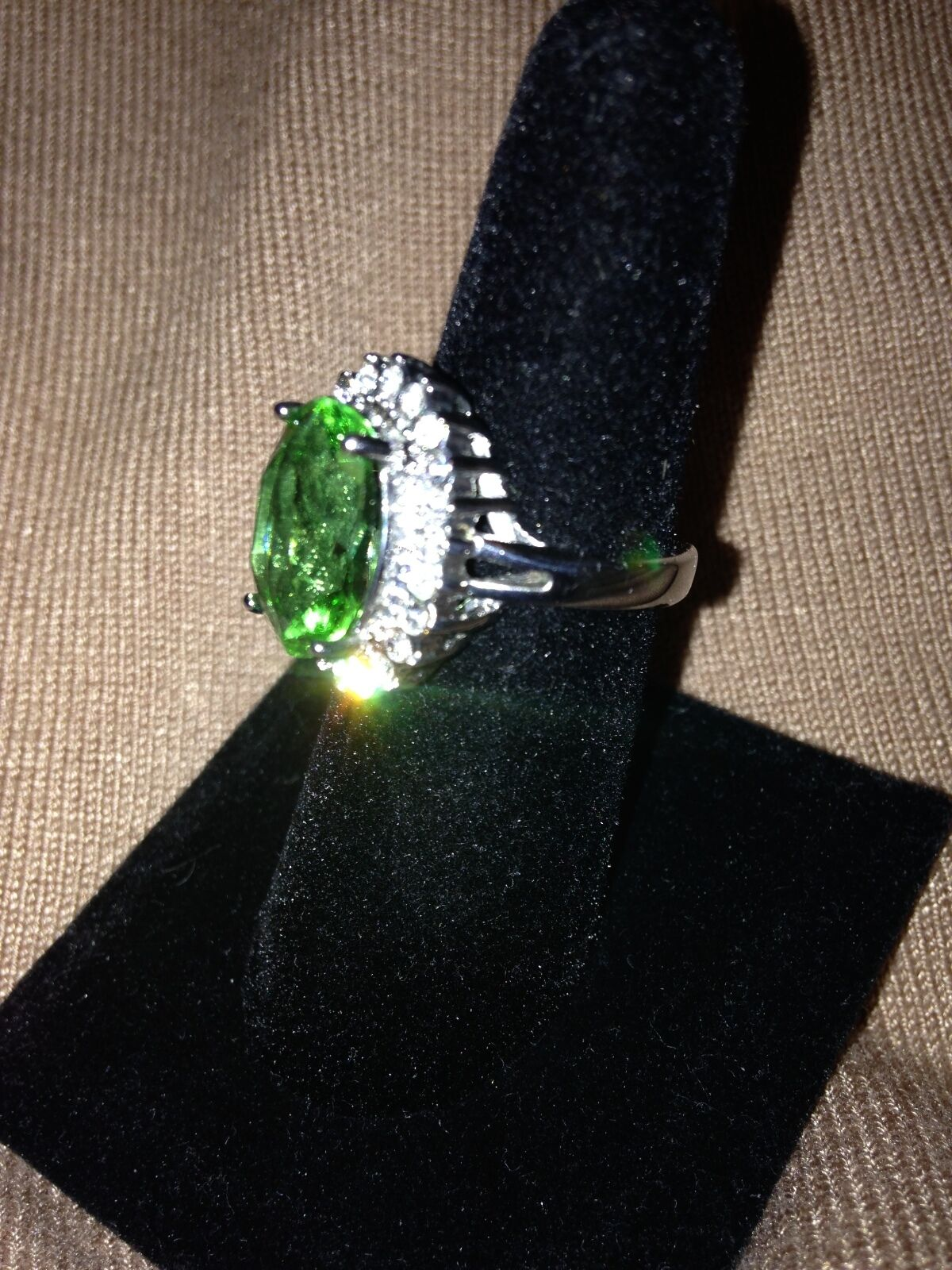 Green Oval Embraced - White Austrian Crystal in Stainless Steel Size 7 Ring (49)