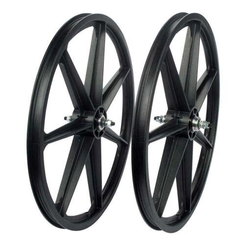 "24/"" BMX BLACK Skyway Tuff II Wheel 2 Mag WHEELSET Black 24/"" Freewheel WHEEL SET"