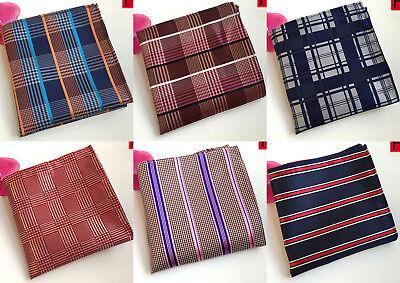 New 100/% Silk Orange Red Striped Handkerchief Pocket Square Hankie Wedding Gift