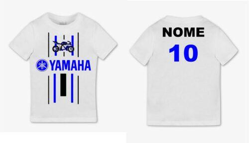 Tshirt Shirt Baby Print MotoGP Yamaha r1 Custom Name Number Cotton Bambini 2 - 16 anni
