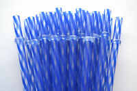 "Reusable Straws Swirly Dark Blue & Clear Plastic Acrylic 9"" With Rings Bpa Free"