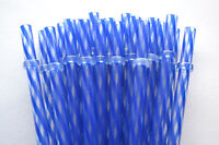 """Reusable Straws Swirly Dark Blue & Clear Plastic Acrylic 9"""" With Rings Bpa Free"""