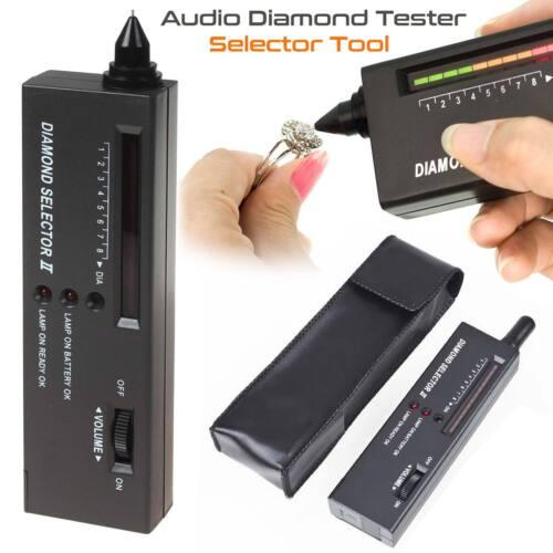 LED Audio Jewelry Diamond Gemstone Tester Selector Tool Black High Accuracy