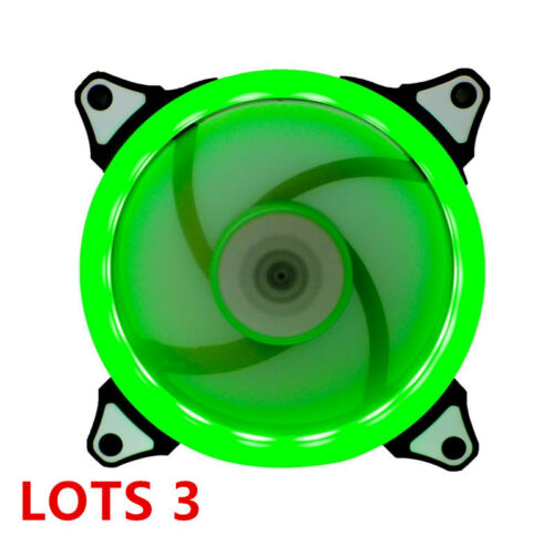 3 X GREEN LED 120mm CPU Computer Case Cooling Neon Quite Clear 4 Pin Fan Mod