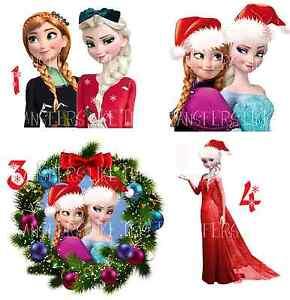 Frozen Christmas.Details About Frozen Elsa Anna Christmas Xmas Iron On Heat Transfer T Shirt Fabrics Lot Fx