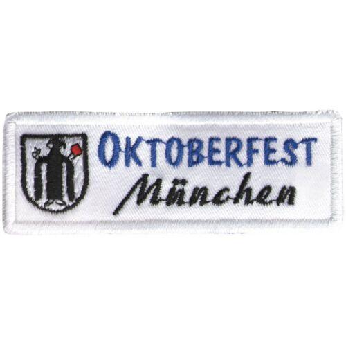 Coser Parches Aplicación Emblema Bordado Motivo 10 X 3,5CM Oktoberfest Muenchen