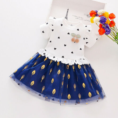 Kids Girls dress Children Party Girls dress Autumn Cotton Short Sleeve Casual