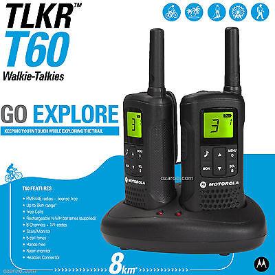 Motorola Talker TLKR T60 2 Way Walkie Talkie 8km PMR 446 Radio 2 Pack Black T60