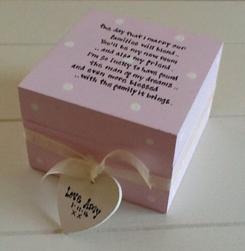 Shabby Personalised Chic Gift Mother Of The Groom Or Bride Trinket Box Mum Mam