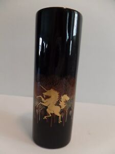 Vintage Otagiri Japan Black Porcelain Vase Gold Unicorn Trim Oval 6.5 x 2 inches