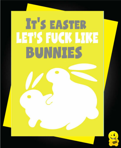 Easter Greeting Card Family Chocolate Funny Comical-lets ... like rabbits E11