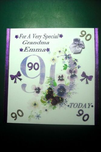 2 Of 3 Handmade Personalised Ladies 90th Birthday Card Any Relative Or Friend