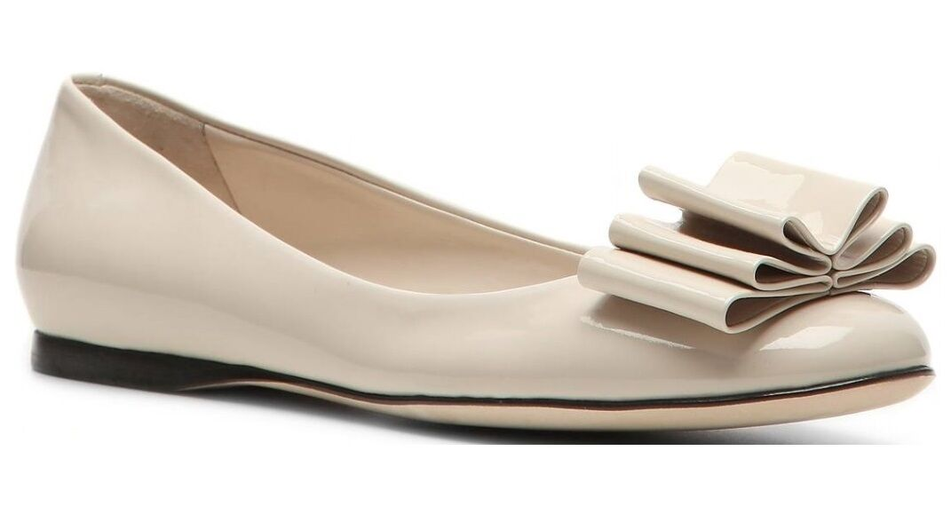 BALLY Ivory Patent Pelle Bow Tie Ballet (Ballerina) Flat, Size 5.5, EU 36, NIB