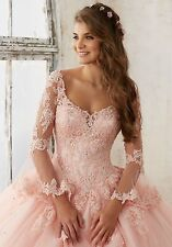 2017-Long-sleeve Quinceanera Pageant Ball Gown Wedding dress Prom Party dresses