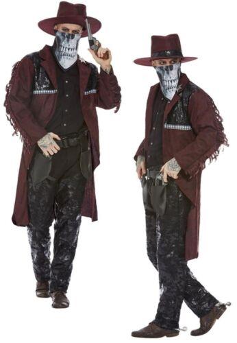 Deluxe Dark Spirit Western Cowboy Costume Mens Halloween Fancy Dress Outfit