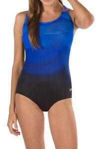 Speedo-Womens-Swimwear-Blue-Black-10-Rhythmic-Wave-Powerflex-One-Piece-88-749