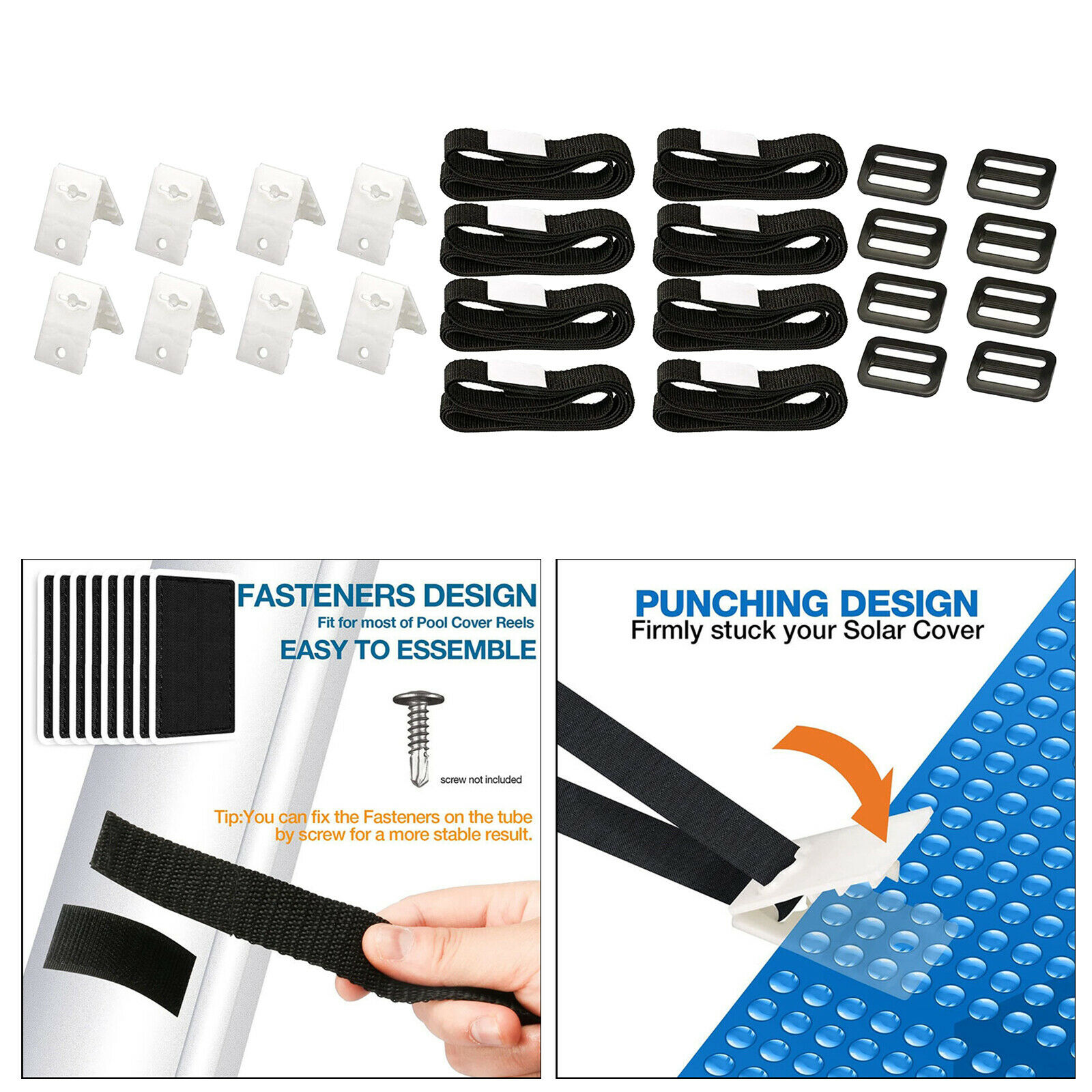 24Pieces Solar Cover Reel Attachment Straps Kit for In Ground Swimming Pool