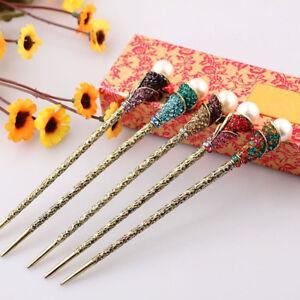 Jewelry-Simulated-Pearl-Crystal-Hair-Stick-Rhinestone-Hair-Chopstick-Hairpin