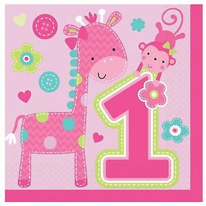 GIRL-ONE-WILD-LUNCH-NAPKINS-GIRLS-1ST-BIRTHDAY-PINK-GIRAFFE-MONKEY-FUN-TO-BE-ONE