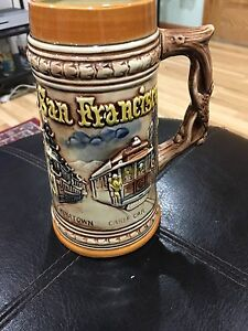 "Vintage Ceramic San Francisco 7.5"" Stein Mug Japanese Made In Japan"