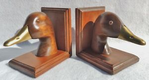 Vintage-Pair-of-Hand-Carved-Figural-Duck-Mahogany-Wood-amp-Brass-Bookends-5338