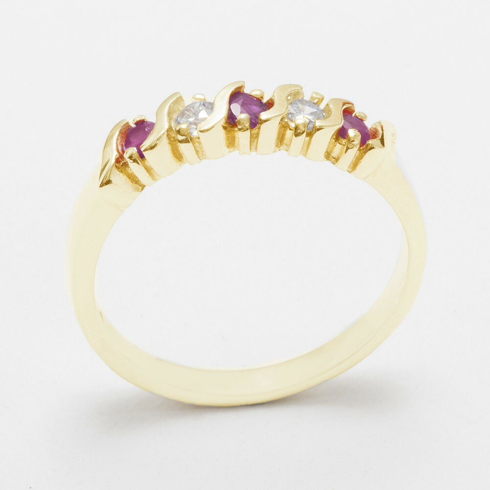 Solid 9ct Yellow gold Natural Ruby & CZ Womens Eternity Ring - Sizes J to Z