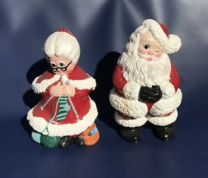 Vintage-Mr-amp-Mrs-Santa-Clause-Christmas-Decorations-Statue-Figurine-9-034-Tall