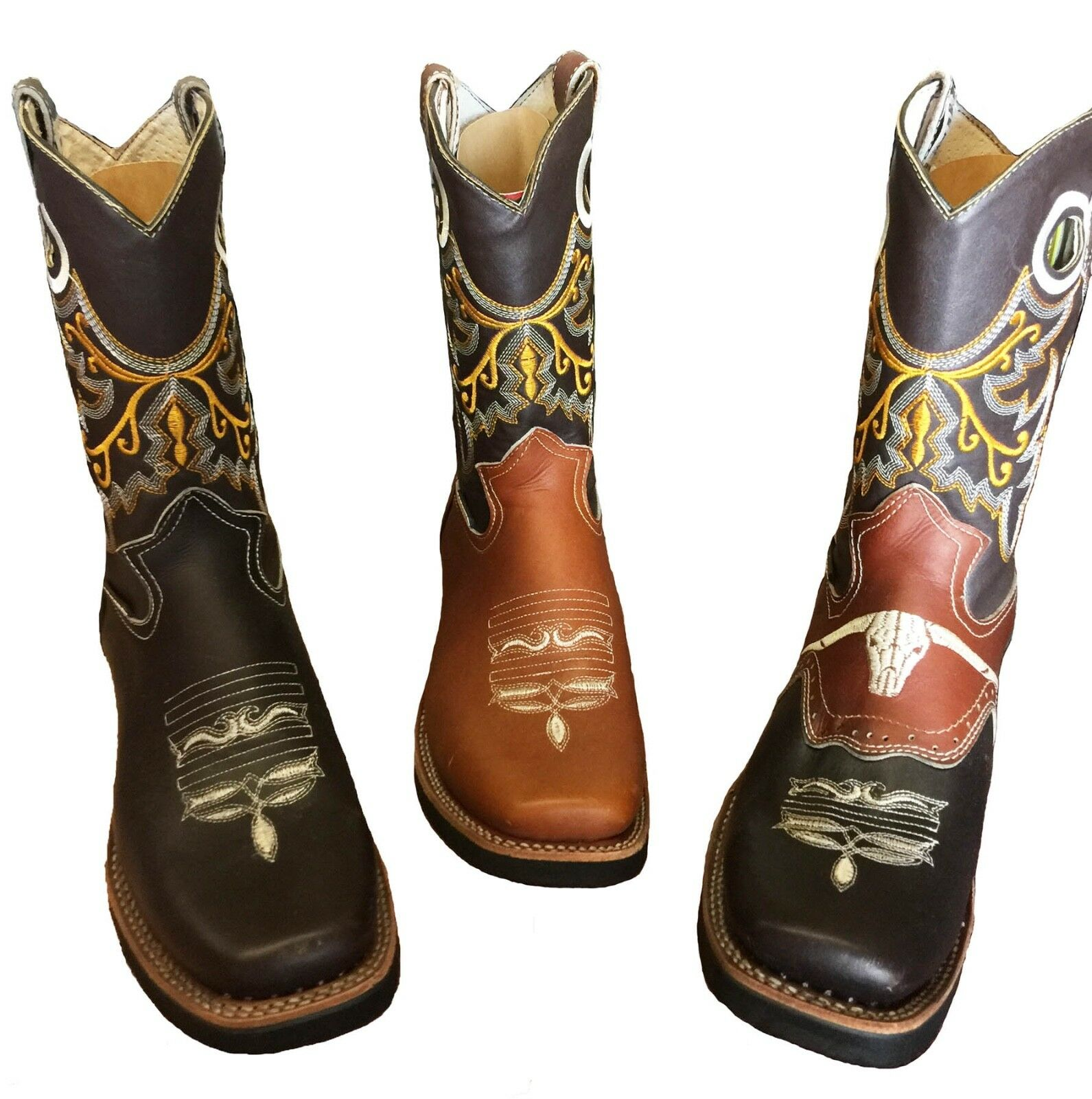 MEN'S RODEO COWBOY BOOTS GENUINE LEATHER WESTERN SQUARE TOE BOTAS-CARR 121