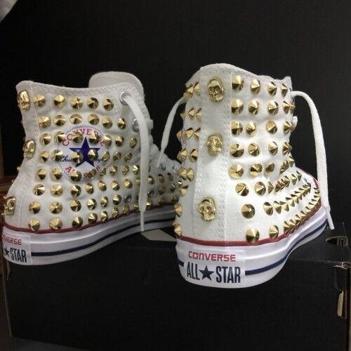 Converse Bianche Customizzato Scarpe 6 Star All prodotto Classiche Teschi Borc rqt0rUw