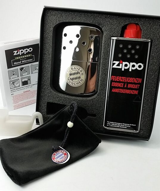 FC Bayern München ZIPPO HANDWARMER Gift-Set mit Benzin HANDWÄRMER Taschenofen