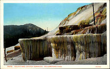 Yellowstone Park USA Color AK ~1920/30 Pulpit and Jupiter Terraces ungelaufen