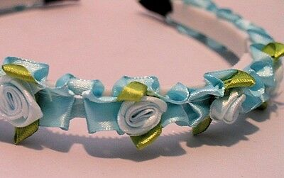 PRETTY WHITE PLASTIC HEADBAND SATIN RIBBON & ROSE BUDS SELECT COLOR