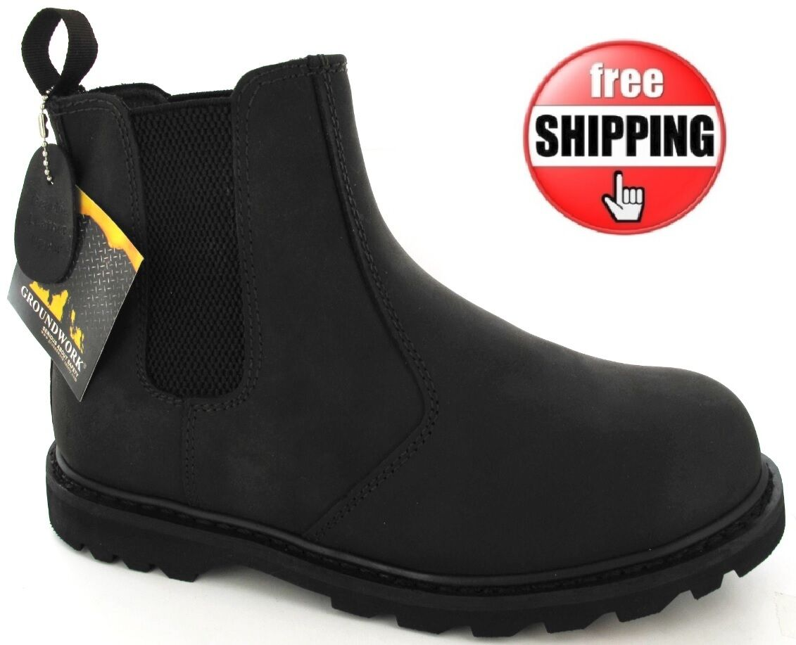 MENS SAFETY DEALER WORK SLIP ON BROWN STEEL TOE GROUNDWORK ANKLE CHELSEA BOOTS