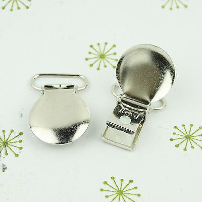 Round Face Pacifier Clips/ Suspender Clip 3/4 INCH Round Metal Dummy/Paci Holder