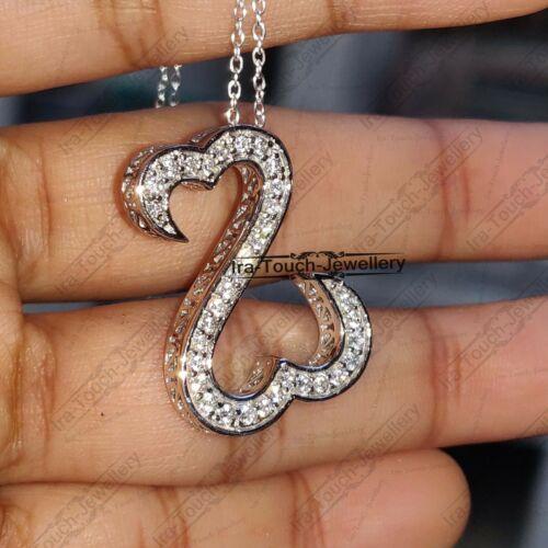 0.40 ctw D//VVS1 Diamond Open Heart Pendant Necklace 14k White Gold Over