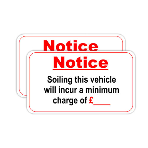 Taxi Soiling Fee Sticker 2 Stickers Printed On White Vinyl Taxi Van Uber Bus
