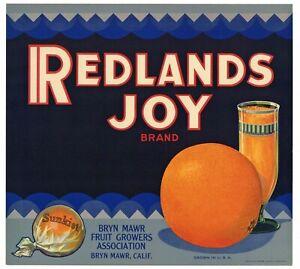 *Original* REDLANDS PRIDE Bryn Mawr Orange Crate Label NOT A COPY!