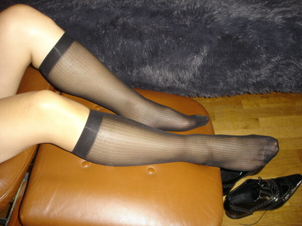 1 Paire Mi Bas Socks Sheer Noir A Cotes Taille 39/46 Neofan Ref: V11