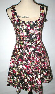 279e0a8c406 New Womens NWT  158 French Connection Fit Flare Dress Flowers Black ...