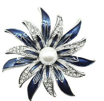 BROOCH Blue Enamel  Rhinestone Pearl Flower Brooch Pin-on Fashion Jewellery