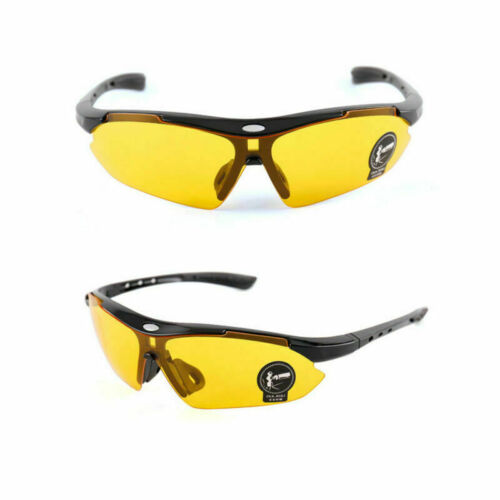 New Cycling Glasses Sports Sunglasses UVA400 Work Safety Clear Orange Bicycle UK