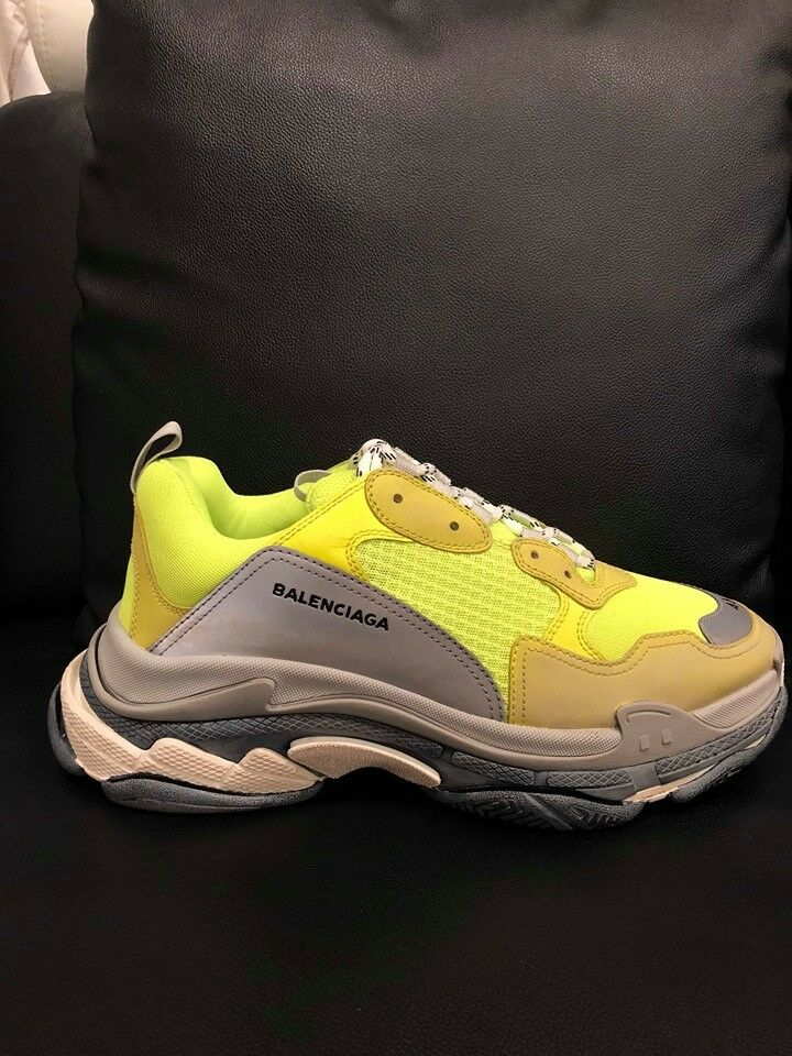 NIB Balenciaga Triple S Sneaker Neon Yellow Grey Speed Flat Trainer 46 Men US 13