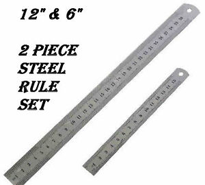 2 PIECE SET STAINLESS STEEL RULE IMPERIAL METRIC RULER MARKING METAL RULE