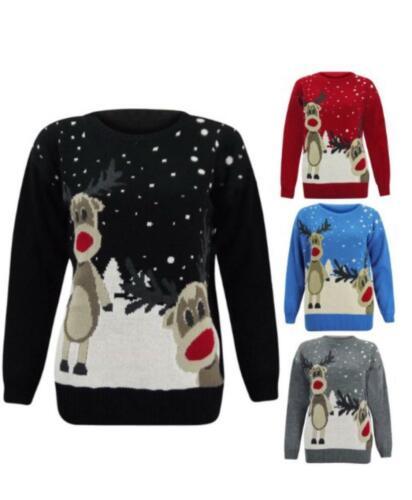 Ladies Two Reindeer christmas Novelty Jumper