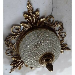Hand-Beaded-Antique-Replica-Crystal-Bronze-European-Flush-Mount-Chandelier
