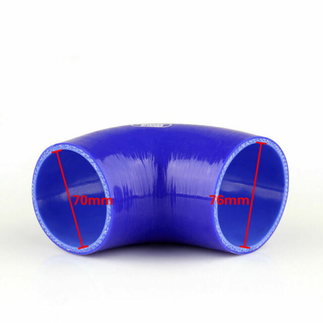 Elbow 90 Degree 70mm 76mm Silicone Tuyau Coupler Intercooler Turbo Intake Blue A