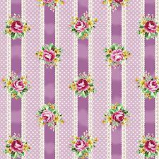 Lavender Ribbons, Lace, Roses, Stripe, RuRu Bouqet Tea Party, Q Gate By 1/2 Yard