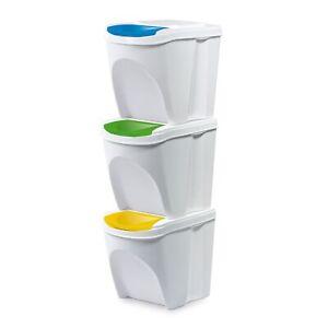3er Set Mülleimer Küche 3x25 Liter Behälter Papierkorb Abfalleimer Weiß