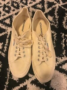 Superga-Mens-Cream-Canvas-Casual-Sneakers-Shoes-Size-12