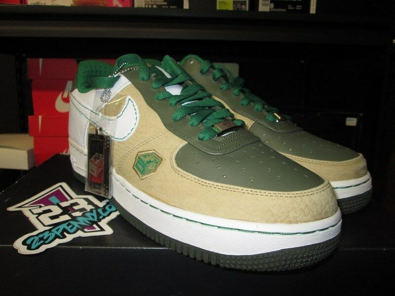 NIKE AIR FORCE 1 PREMIUM 07 MR BALTIMORE HAY WHITE ARMY OLIVE GREEN 315180 211